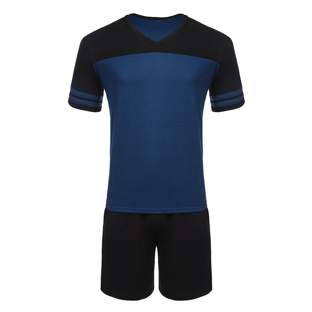 Nightwear Pajamas Short-Sleeve Home-Set Casual V-Neck Contrast-Color Loose Middle-Waist