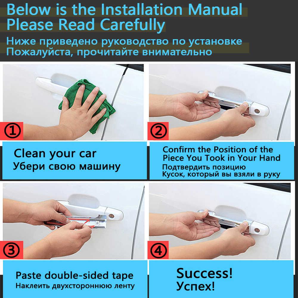 Para nissan primera p12 2001 ~ 2007 2002 2003 estilo adesivos decoração abs chrome maçaneta da porta capa pintura reequipamento acessórios do carro