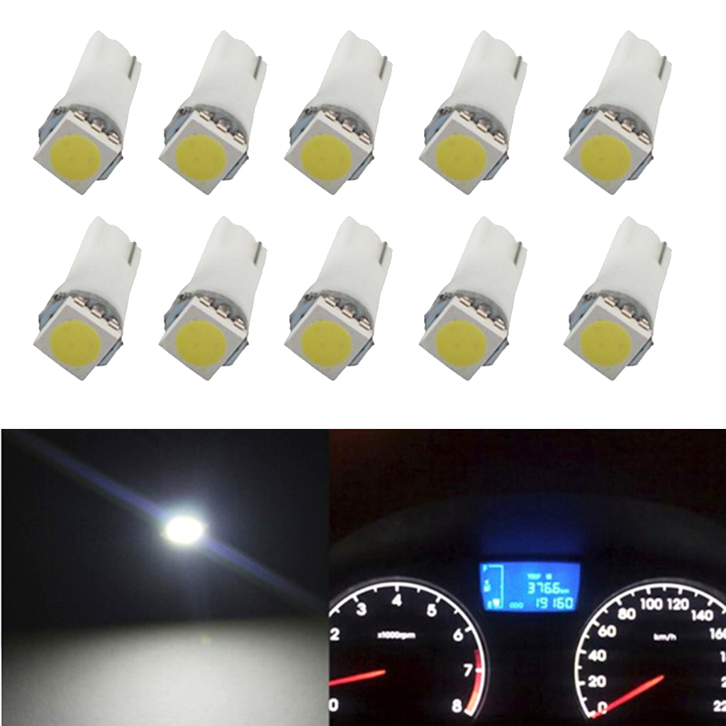 10 Pcs T5 5050 LED Lamp Auto Replacement 12V DC For Car RV Truck ATV Dashboard/Map/Step/Reading/Meter/LED Indicator Light Bulb