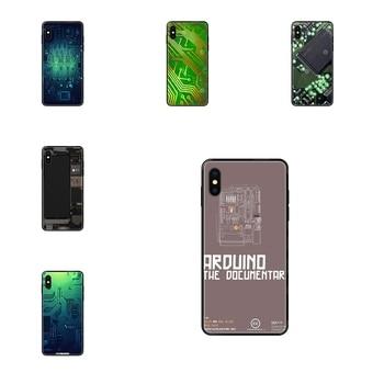 Coque de protection en ligne noir souple en TPU Art carte de téléphone pour batterie d'ordinateur transparente pour Redmi Note 4 5 5A 6 7 8 8T 9 9S Pro Max