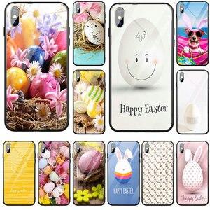 Gorące jajko jajko malowane wielkanocne etui na telefon ze szkła hartowanego dla iPhone 5 5S SE X XR XS Max 8 7 6 6S Plus 7Plus 8Plus Coque Shell