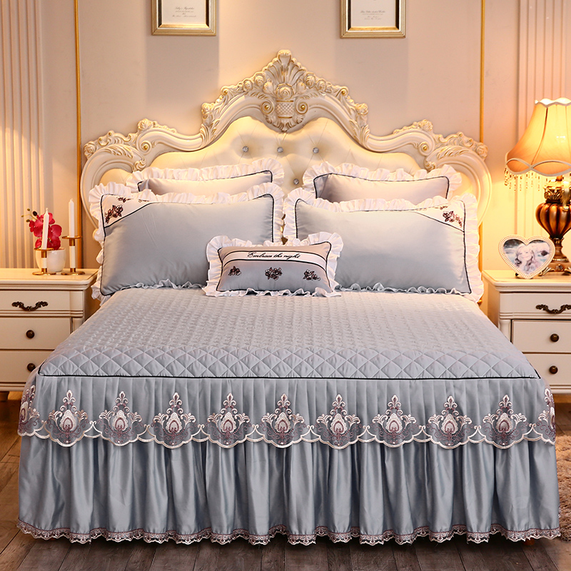 Solid Color Thick Bedding Bed Sheet Pillowcase 1/3pcs Gray Lace Bed Skirt Set Princess Bedspread Mattress Cover Home Textile