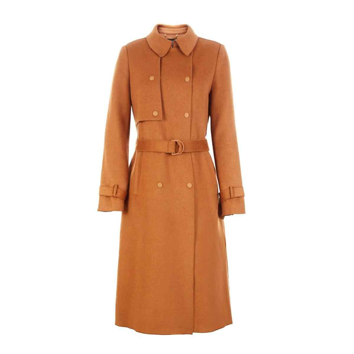 Alleen Slim Fit Cinched Taille Double-Breasted Lange Wollen Trenchcoat   11836U505