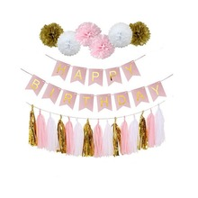 Happy Birthday Party Banner Decorations Kids Baby Shower Supplies Bunting Garland Flags