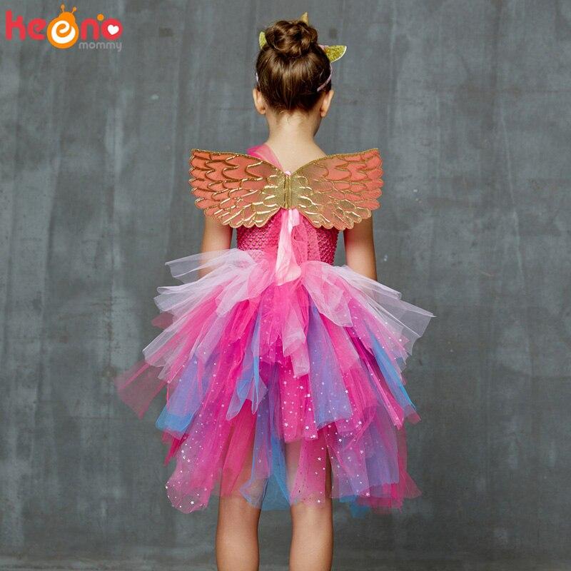 Glittery Unicorn Princess Pageant Flower Girl Tutu Dress Kids Party Costume with Headband and Wings Halloween Cosplay Girl Dress 4