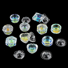 Glass-Cup Dish Lid-Bowl Acrylic-Powder Monomer Crystal-Clear Nail-Art-Tool Tappen Rainbow
