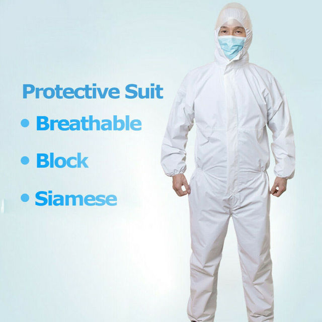 PPE White Coverall Hazmat Suit Protection Protective Disposable Anti-Virus Clothing Disposable Factory Hospital Safety Clothing
