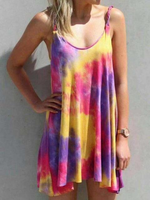 New dress gradient printing condole belt dress in summer 1