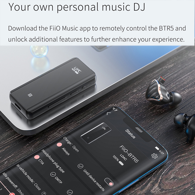 Fiio BTR5 USB DAC Bluetooth 5.0 ES9218P CSR8675 Headphone Amplifier HiRes 3.5mm 2.5mm Balanced AAC/SBC/aptX/aptX LL/aptX H/LDAC 6