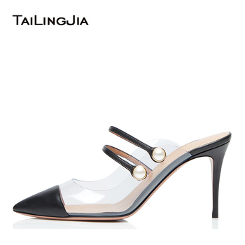 Closed Pointed Toe Mules Women High Heel PVC Pumps Ladies Clear Heels Transparent Dress Shoes Heeled Slippers Slides 2020