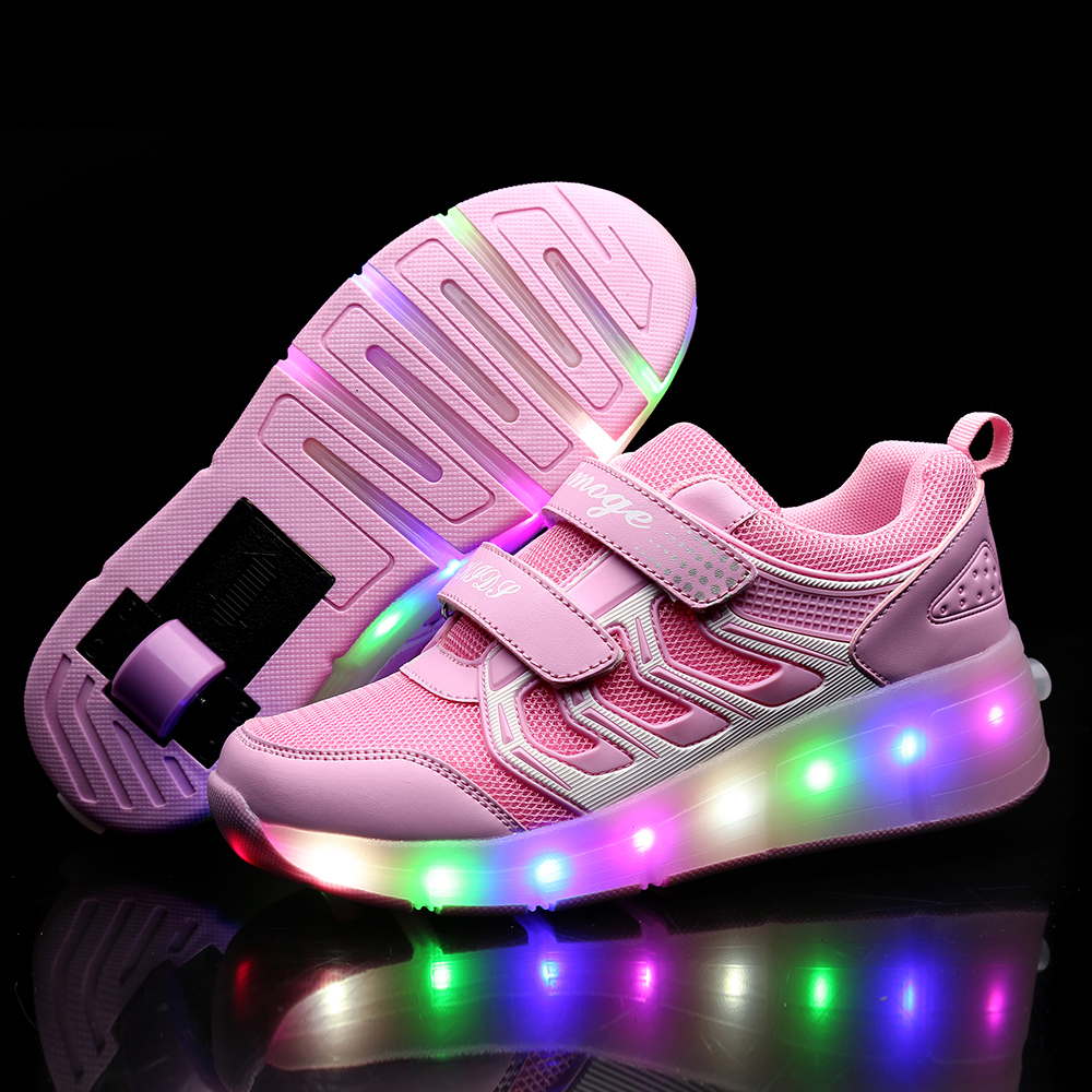 Heelys USB Charging LED Light Sneakers With One Single Wheel Boy Girl Roller Skate Casual Shoe With Roller SHOES