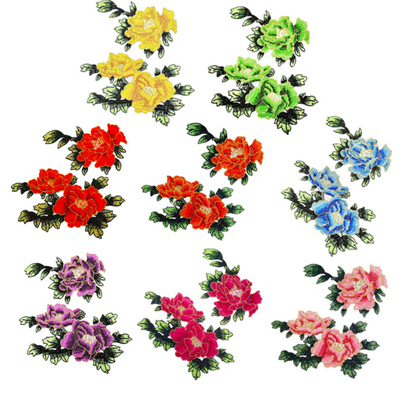 1Pair Sew On Patches Multicolor Peony Flower Embroidery Patch Appliques Badge Stickers Clothes Chinese Style Accessories Patches