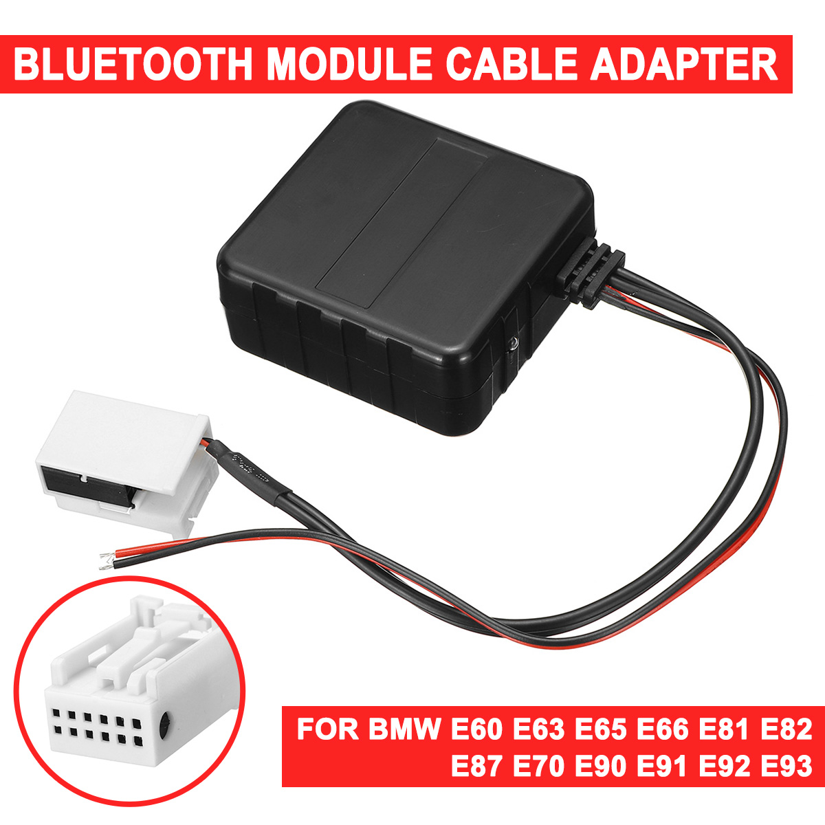 For BMW E60-E66 E70 E82 E87 E90 E92 12V AUX Cable <font><b>Adapter</b></font> <font><b>Car</b></font> <font><b>bluetooth</b></font> <font><b>5.0</b></font> Module Audio Radio Stereo AUX-IN Plastic image