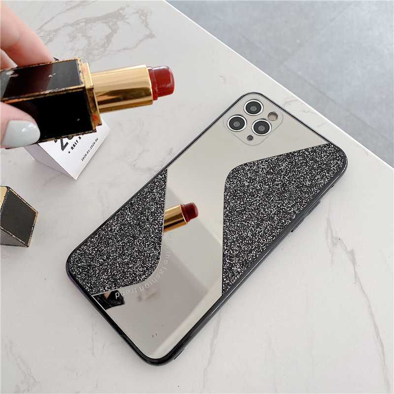 JAMULAR Bling Glitter Sequins <font><b>Makeup</b></font> Phone <font><b>Case</b></font> For <font><b>iPhone</b></font> XS MAX SE 2020 X 11 Pro XR 7 8 <font><b>Plus</b></font> Girly Mirror Cover Candy Fundas image