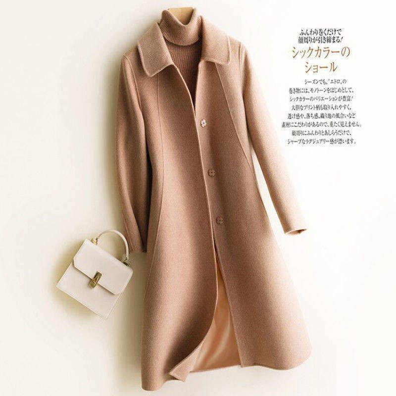 겨울 모직 코트와 재킷 여성 플러스 사이즈 한국 롱 재킷 따뜻한 베이지 우아한 모직 코트 캐시미어 빈티지 코트 케이프 Femme
