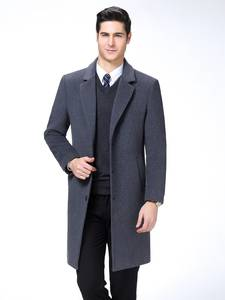 KUYOMENS Wool Coat Jacket Parka Business Long-Trench Men's Male Single-Breasted Casual