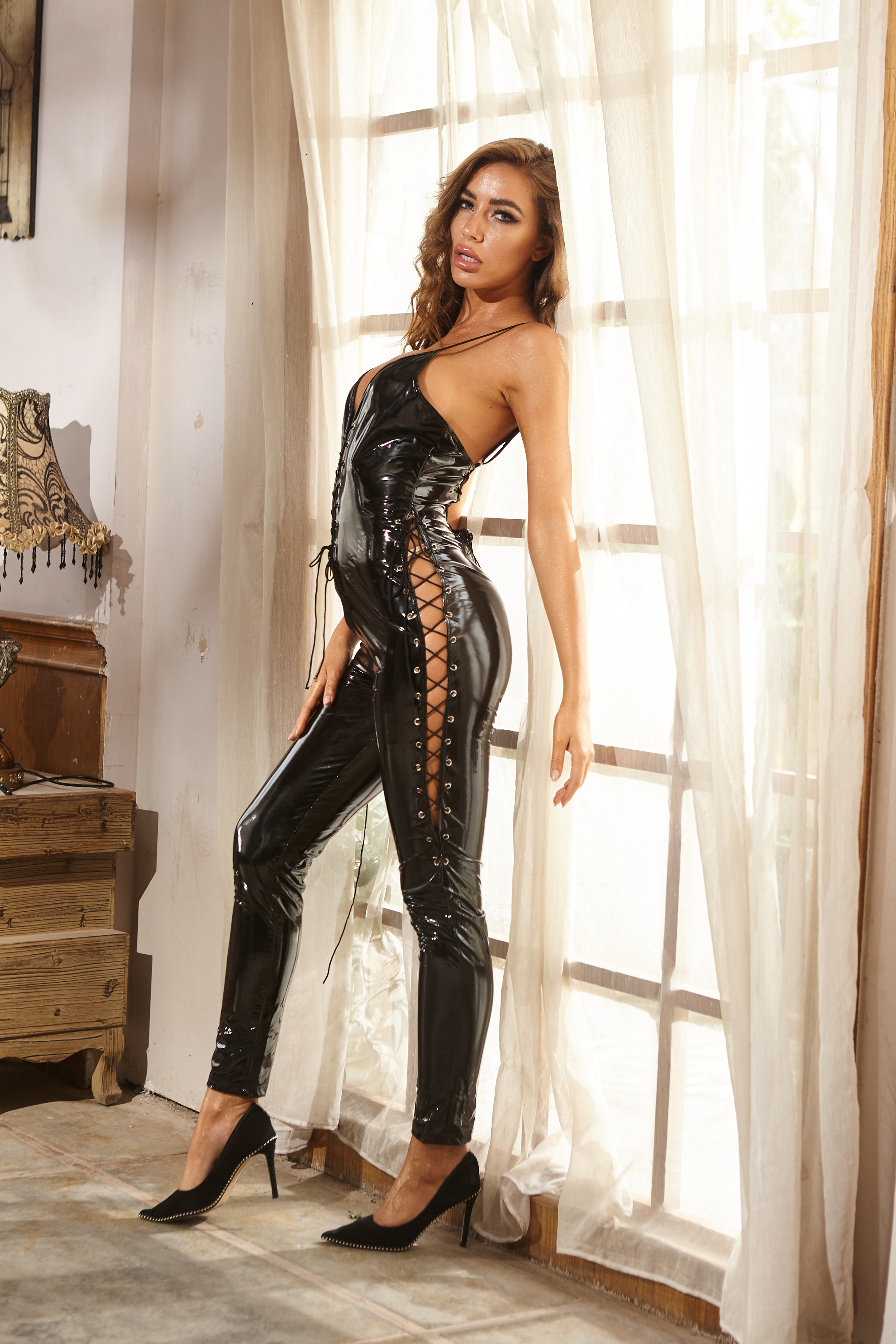 <font><b>Sexy</b></font> <font><b>Lingerie</b></font> Hot Women Prisoners Pu <font><b>Leather</b></font> Teddy Sex <font><b>Babydoll</b></font> Erotic Lenceria Club Mini Dress Costumes <font><b>Lingerie</b></font> Plus Size image