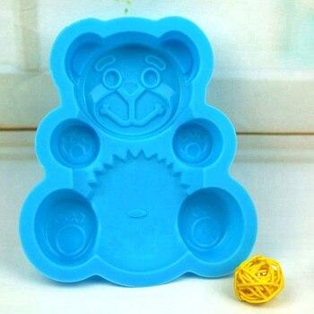 Silicona azul oso forma molde decoración pastel herramientas galletas de bricolaje bandeja gelatina cortador 3D troquel cocina hornear pastel
