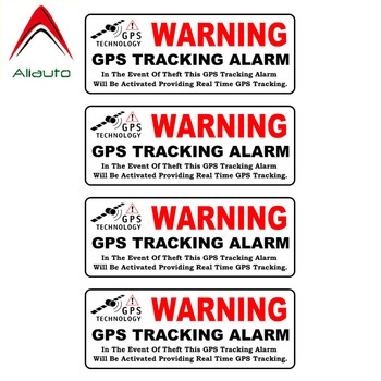 Aliauto 4 X Personality Reflective Car Sticker Warning Gps Tracking Alarm Accessories Cover Scratch Vinyl Decal for Kia,10cm*3cm image