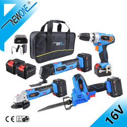 NEWONE 16V Cordless Werkzeuge Kombination Kit, DC Elektrische Bohrer Mit Winkel Schleifen, haushalt Säbelsäge Mit Lithium-Batterie