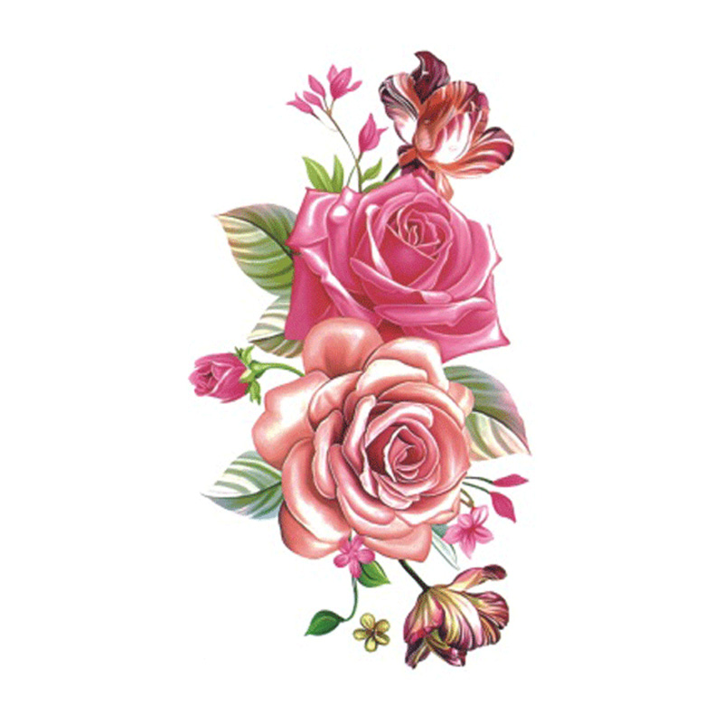 Wyuen 2017 New Hot Waterproof Temporary Tattoo Stickers For Adults Kids Body Art Red Rose P-061 Fake Tatoo For Man Woman Tattoos