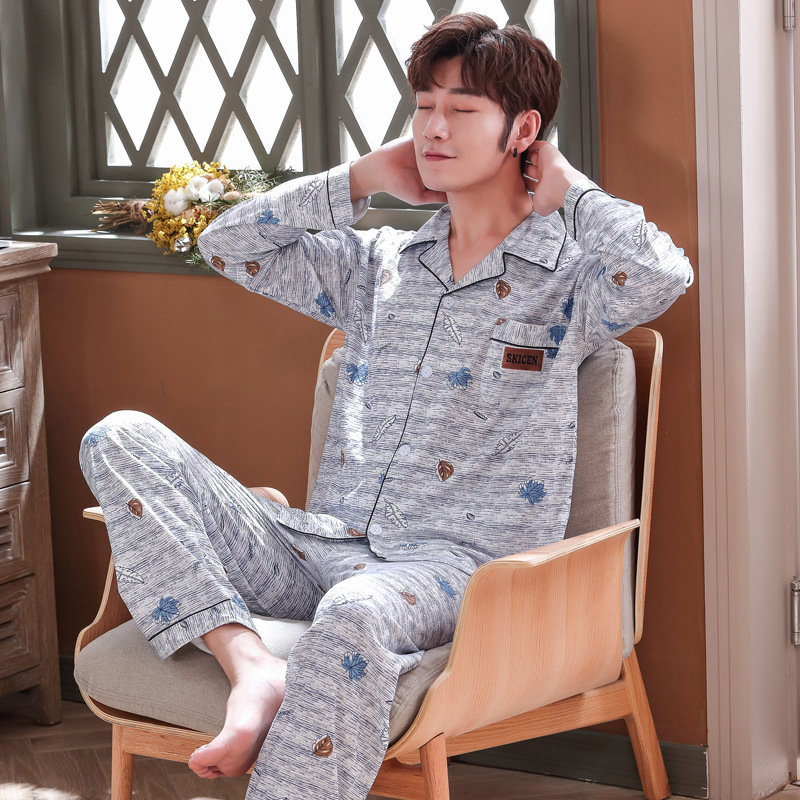 Onesie Men Men's Pajamas Long Sleeve Spring And Autumn Youth Middle-aged Cardigan Lapel Plus Size Korean Thin Household Suit