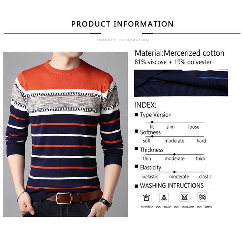 TFETTERS 브랜드 스웨터 2019 가을 겨울 따뜻한 풀오버 니트 스트라이프 스웨터 스트라이프 망 니트 스웨터 의류