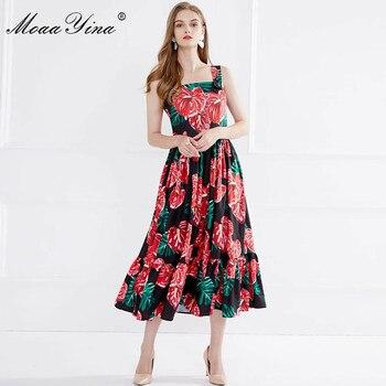 MoaaYina Fashion Designer Dress Summer Women Spaghetti strap Floral Print Dress floral print frill trim dress