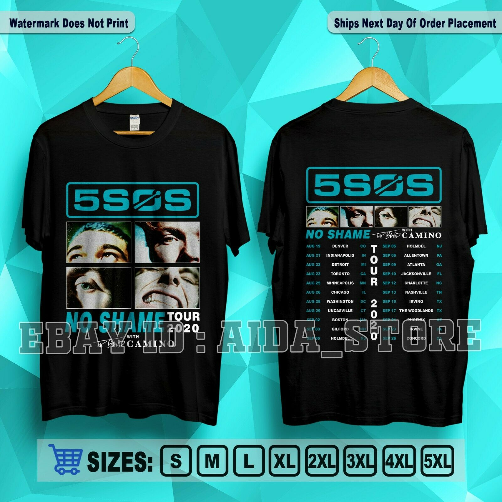 5 Seconds Of Summer 5SOS 'No Shame Tour 2020' with The <font><b>Band</b></font> Camino T-<font><b>Shirt</b></font> S-<font><b>5XL</b></font> image