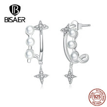 BISAER Stud Earrings Real 925 Sterling Silver Star Shape Earrings for Women Dazzling Cubic Zirconia Fashion  Jewelry HVE183 bisaer stud earrings real 925 sterling silver star shape long earrings for women clear cubic zirconia fashion jewelry hve154