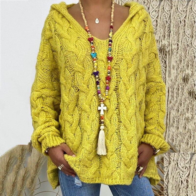 2019 Sweater Solid Color Twist Knitting HoodieLadies Fashion Women's Dress Warm Yellow Pink Sweater Fashionwomen's Sweater  #5