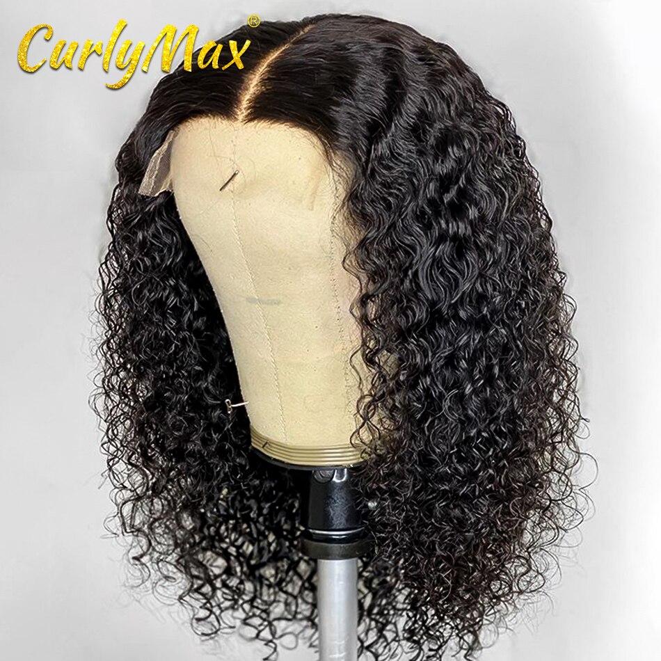 Onda profunda brasileira 4x4 do fechamento do laço perucas do cabelo humano da parte dianteira do laço curto encaracolado perucas do cabelo humano para a mulher negra