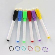 6 sztuk marka magnetyczny lub niemagnetyczny pisak do tablic suchościeralnych kasowalna sucha markery do białych tablic magnes z wbudowaną gumką biuro szkolne