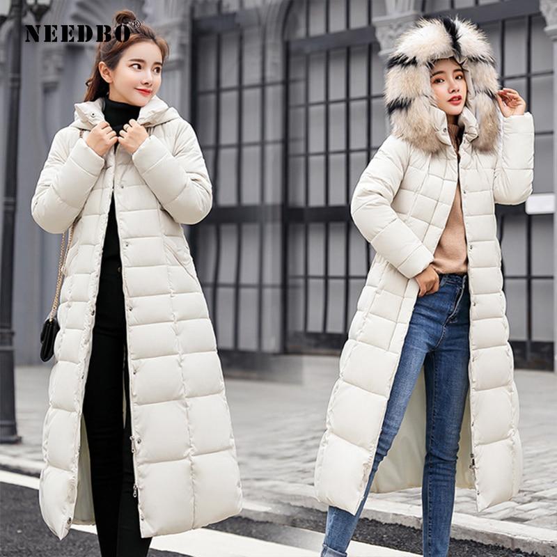 NEEDBO Down Coat Women Long Down Jacket Women Winter With Hooded Down Coat Winter Oversize Doudoune Jacket Coat Lady Down Parka