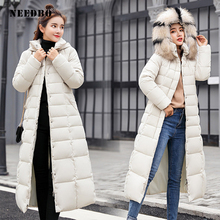 NEEDBO Down Coat women Long Down Jacket Women Winter with Hooded Down C