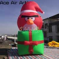 2,5 m H Weihnachten urlaub event dekoration aufblasbare vogel mit geschenk box basis für förderung