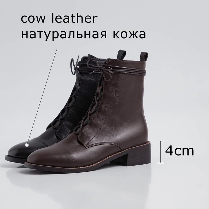 Image 3 - ALLBITEFO high quality genuine leather  Frenulum ankle boots for  women winter women boots concise ladies shoes girls bootsAnkle Boots