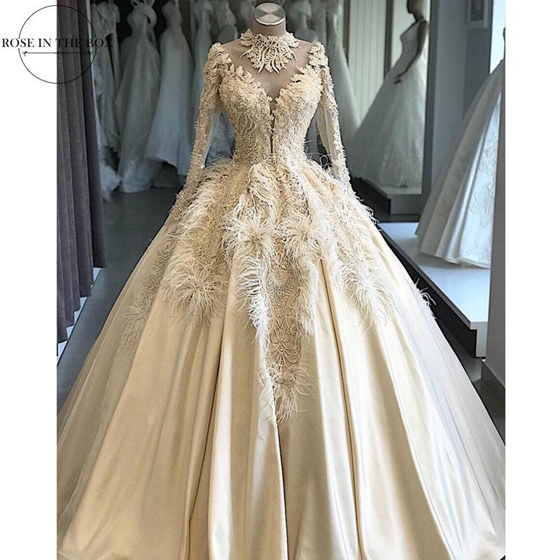 Elegant Luxury Customized Lace Feathers Beading Wedding Dress 2019 Illusion Wedding Gowns Robe De Mariee