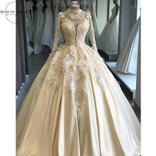 Vestido De boda personalizado De lujo con plumas De encaje, ilusión De manga larga