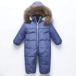 Baby winter down jackets Little boy warm snow suit duck down 90% Children's Siamese Down Jackets Baby windproof ski suit  0-1-2T
