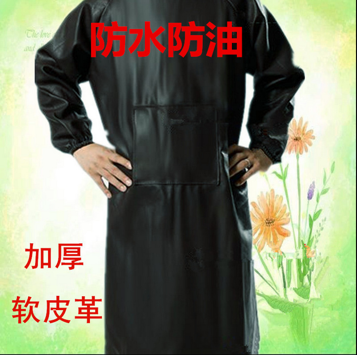 Top Grade Long Sleeve Leather Smock Waterproof Oil Resistant Acid And Alkali Resistant Thick Chemical Anti Wear Overclothes Work