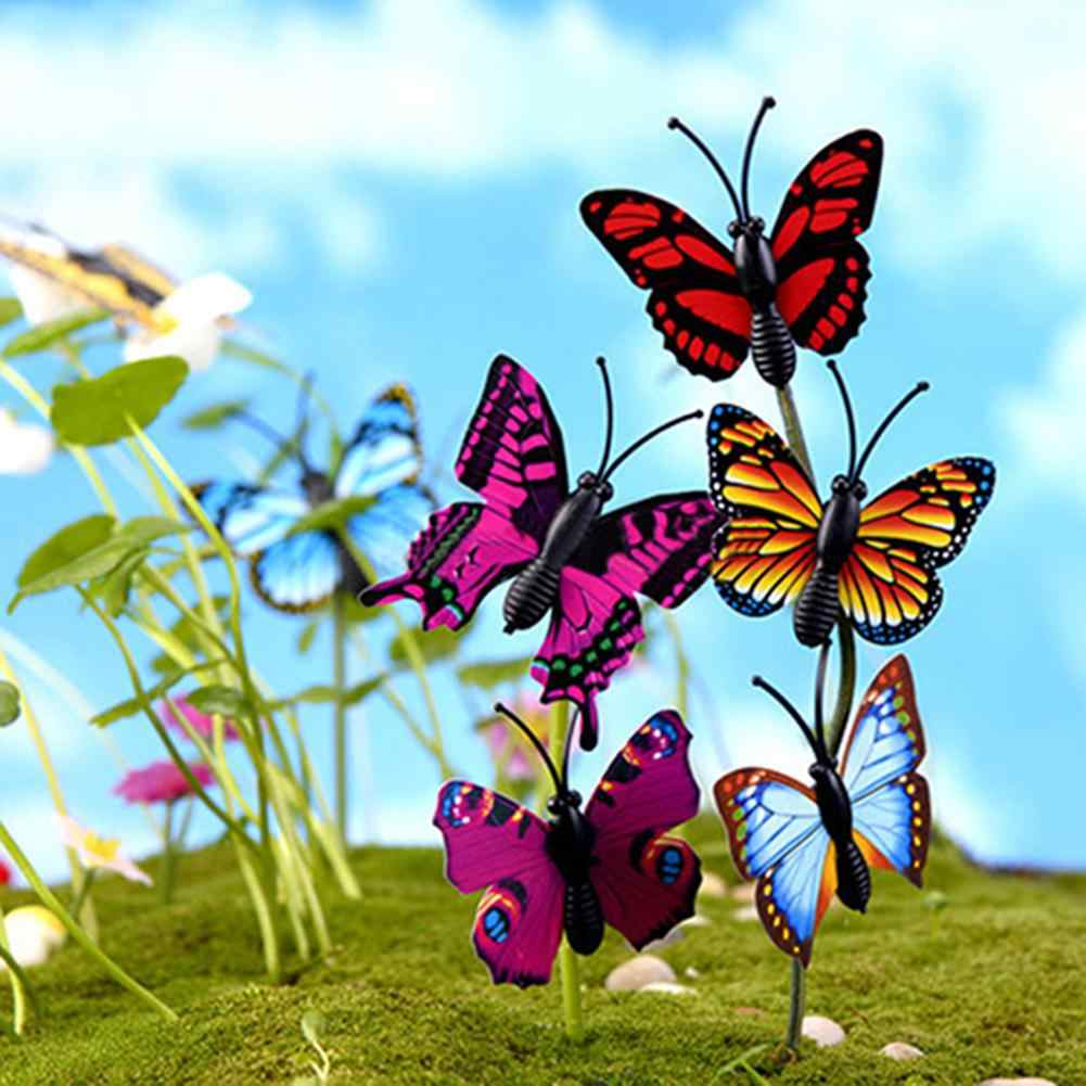 4 Pcs 3D Butterfly Miniature Fairy Garden Ornament Plant Pot Simulation Butterfly Refrigerator Sticker With Iron DIY Craft Decor