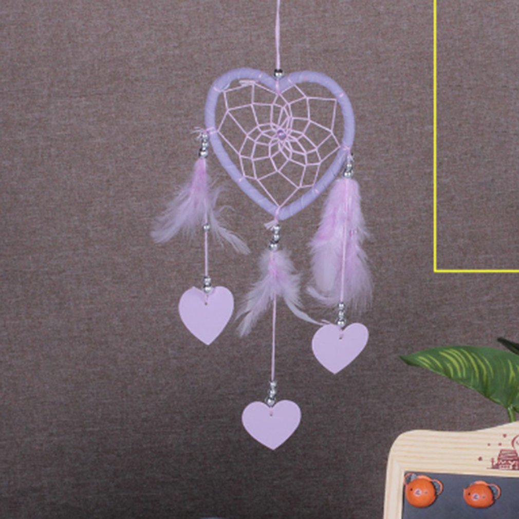 Romantic Peach Heart Handmade Dream Catcher Hanging with Feathers Wall Car Hanging Decoration Ornament Dreamcatcher Gift