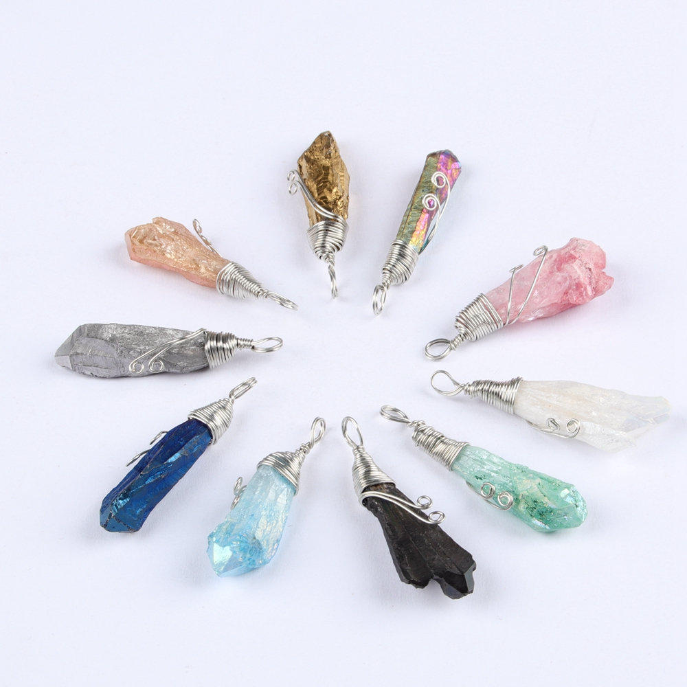 Hot Sale Handmade White Copper Wire Wrapping Irregular Crystal Column Pendant Natural Crystal Stone Fashion Creative Jewelry