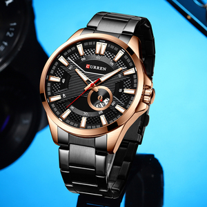 Image 5 - חדש נירוסטה קוורץ גברים של שעונים אופנה CURREN שעון יד סיבתי עסקי שעון למעלה מותג יוקרה גברים שעון זכר שעון