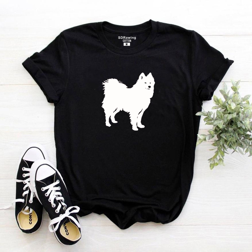 HarajukuFunny Cute Samoyed Print Harajuku Cotton T Shirt For Women Dog Lover Graphic Tees Summer Casual Tops Plus Size Drop Ship