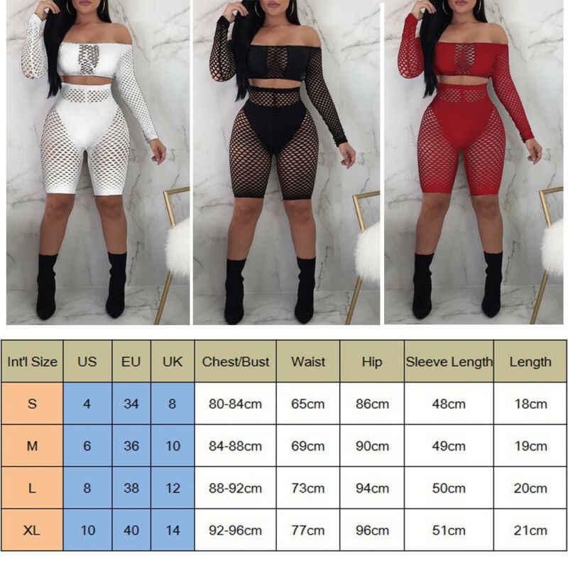 Hirigin 2Pcs קיץ נשים סקסי רשת Fisnet Off-כתף ארוך שרוול הברך להאריך מכנסיים סט חליפת כיסוי עד