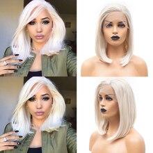 Charyzmatu przedziałek z boku syntetyczna koronka peruka Front proste włosy koronkowa peruka dla czarnych kobiet blond peruka koronki przodu peruki z krótkim bobem
