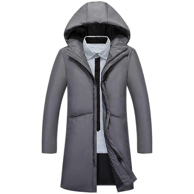 Hombres pato blanco abajo hombres X-Largo sección Casual espesamiento cálido jóvenes hombres con capucha abajo abrigo invierno nuevo abajo chaqueta