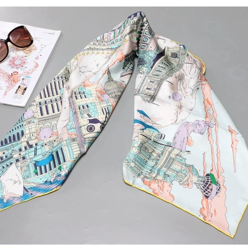 Castle Prints 100% Silk Scarf Shawl Wraps Foulard For Women Spring Fashion Scarves